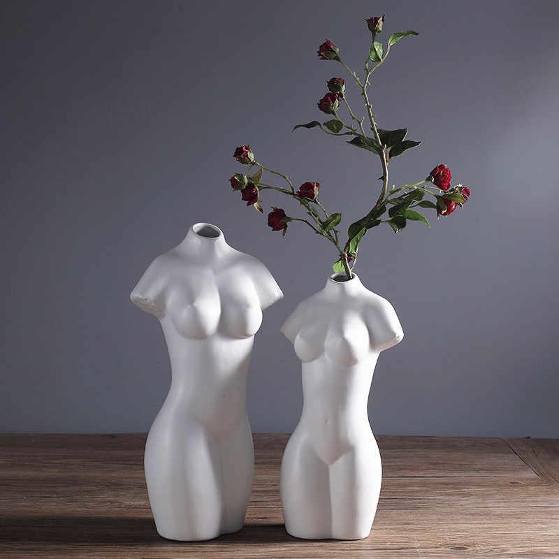 Creative Decorative Ceramic Vase Woman Body Shaped White Nude Flower Vase Modern Home Ceramic Abstract Ornaments Decorations Ceramic Vase Decorative Ceramic Vasesflower Vase Aliexpress