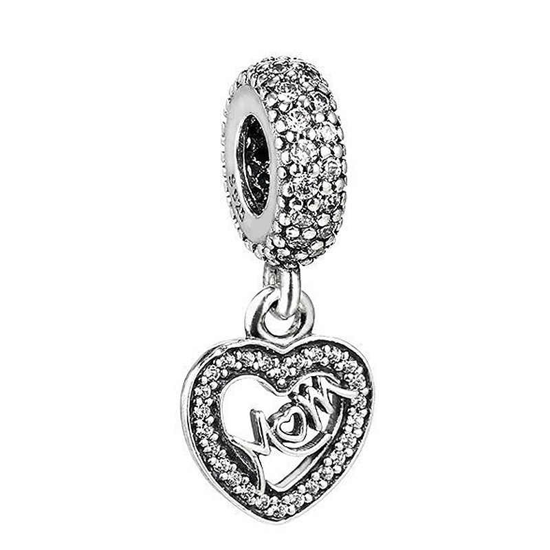 Authentic 925 Sterling Silver Bead Charm Love Heart Mom With Crystal Pendant Beads Fit Pandora Bracelet DIY Jewelry