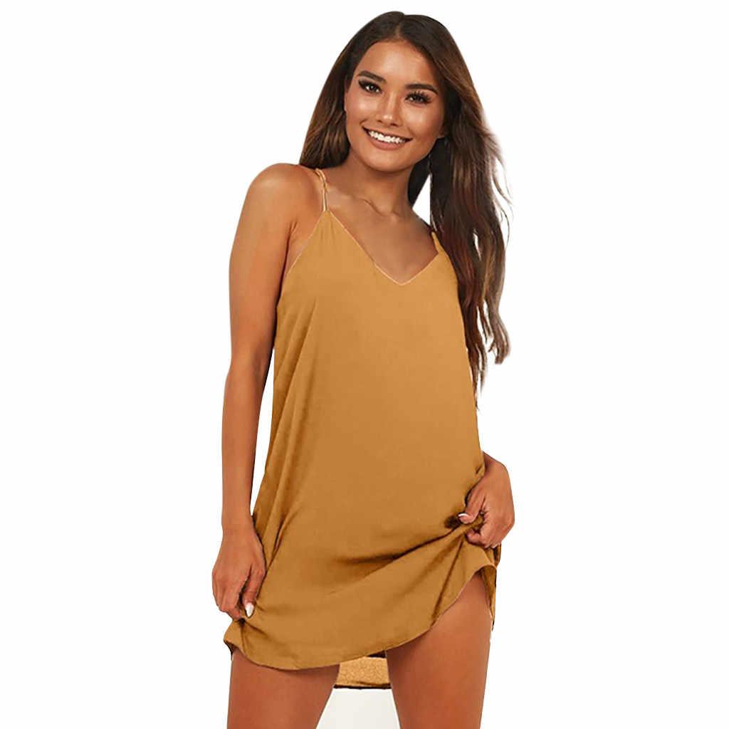 JAYCOSIN 2019 女性のドレスファッションセクシーなディープ V ネックノースリーブルーズ底入れミニビーチドレス女性服ドロップシップ