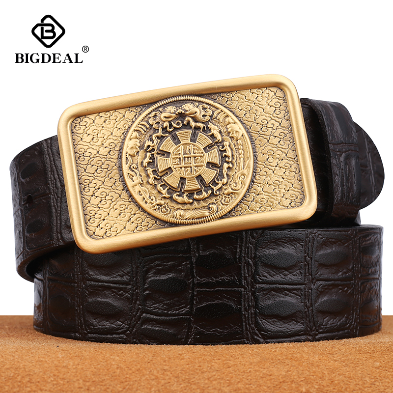 BIGDEAL Famous Men Belt Jeans Genuine Leather Pin Buckle Cowboy Belts For Male Vintage Brand Cowhide Belt Waistband
