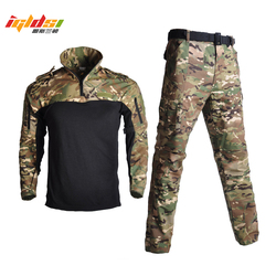 Men Camouflage Tactical Suit Uniforms Military T-shirts and Combat Pants Airsoft Paintball Special Forces Suit Hunt Shoot Sets