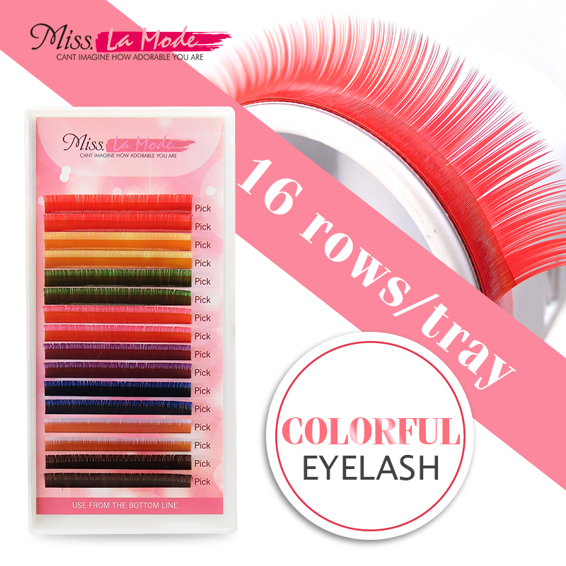 Misslamode 8 Colors 16rows Rainbow Eyelash Extension Color False Fake Lashes Eyelashes False Eyelash 0.07/0.10 1pc/lot