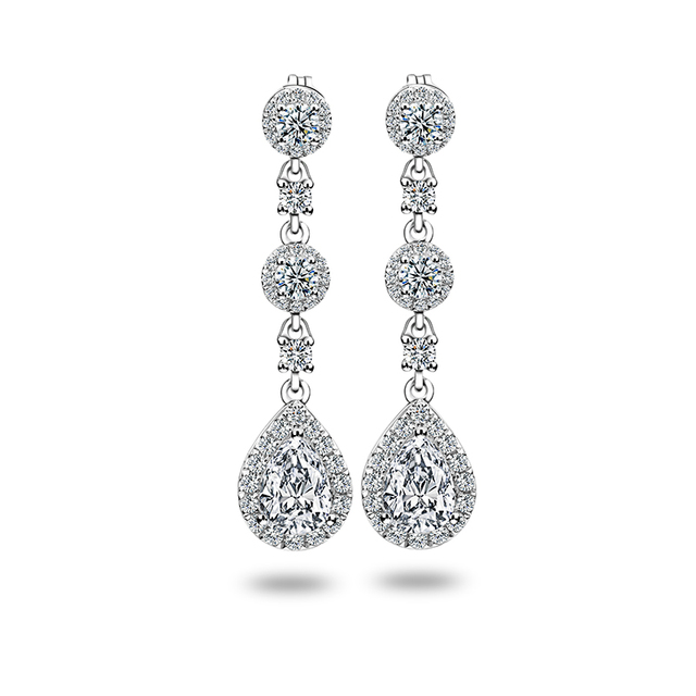 Classic Engagement Party Jewelry 18k White Gold Pear Shape Moissanite Diamond Wedding Long Dangle Earring for Women 1