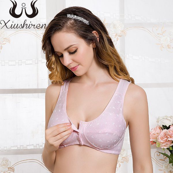 48d28e8e44c11 Xiushiren Women Front Closure Full Cup Unlined Basic Bralettes Breathable  Healthy Floral Bra 34B 34C 36B 36C 38A 38B 40A 42B 44B-in Bras from  Underwear ...