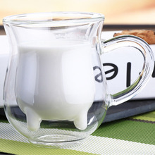 Double Wall Milk Glass Cups Cow Udder Shape Tea Cup Juice Water Coffee Mugs Handle Glasses Clear Wine Beer Jar Kitchen Drinkware