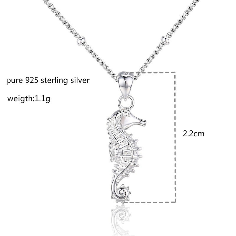 SEA HORSE CHARM WITH BOX CHAIN NECKLACE STERLING SILVER SEAHORSE