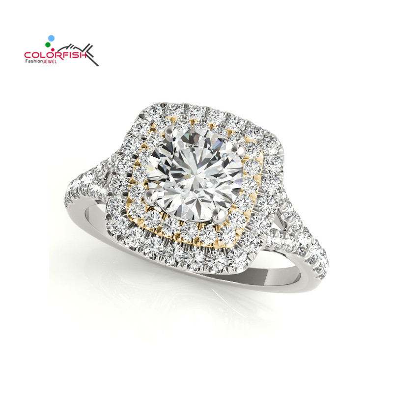COLORFISH Round Cut 1 Carat 925 Sterling Silver Double Halo Engagement Rings For Women Jewelry Two Tone Female Wedding Ring 2018 недорого