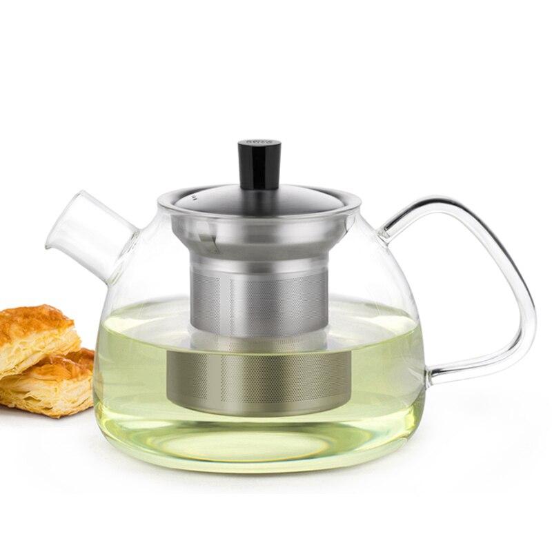 Grande Moderna di Vetro Teiera con Infusore In Acciaio Inox e Coperchio 900 ml, Resistente Al Calore Vetro Borosilicato Drinkware