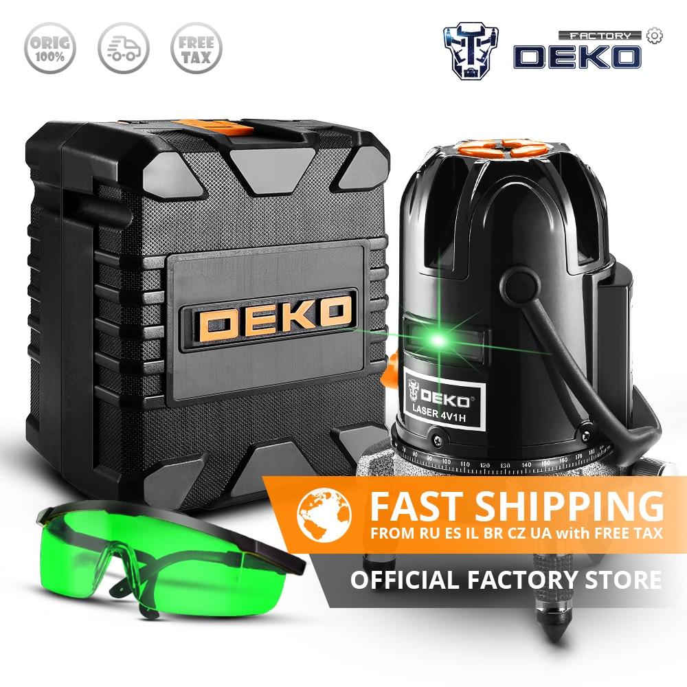 DEKO DKLL501 5 Lines 6 Points Vertical Horizontal Self leveling Laser Level 360 Degrees Green Laser