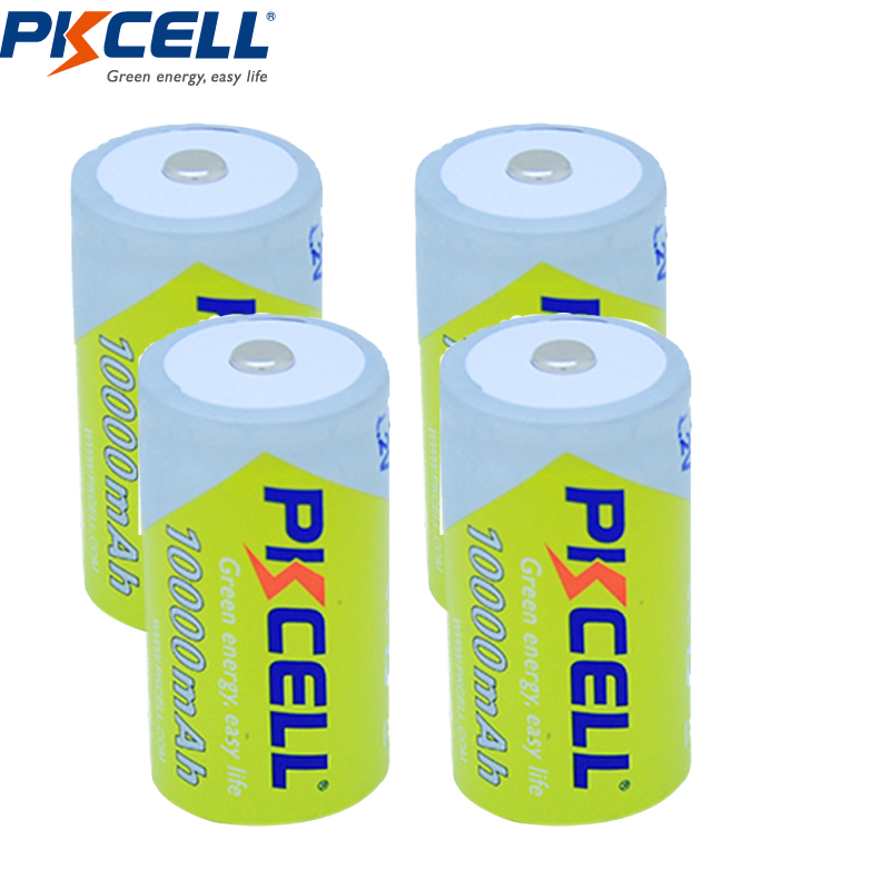 4Pcs/PKCELL 1.2 V D size 10000mAh Ni-MH battery rechargeable ,1.2v D rechargeable batteries цена