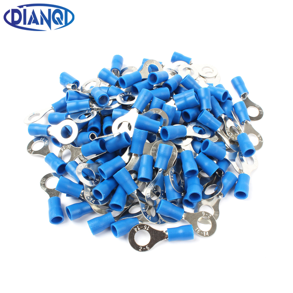 цена на DIANQI RV2-6 Blue Ring insulated terminal Cable Wire Connector 100PCS/Pack suit 1.5-2.5mm Electrical Crimp Terminal RV2.5-6 RV