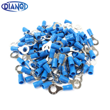 DIANQI RV2-6 Blue Ring insulated terminal Cable Wire Connector 100PCS/Pack suit 1.5-2.5mm Electrical Crimp Terminal RV2.5-6 RV