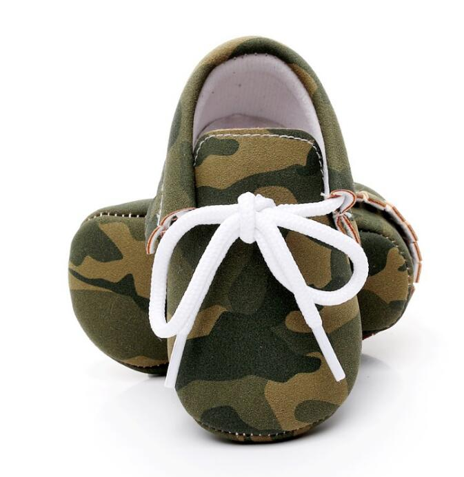 2019 Pu Leather Baby Moccasins Shoes Camouflage Lace Up Baby Shoes Soft Sole Newborn First Walker Toddler Shoes