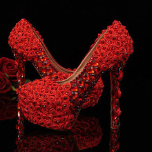 latest round toe red rose flowers with crystals rhinestones blingbling bridal wedding shoes 5 Inches Heel Lady Prom Dress Shoes
