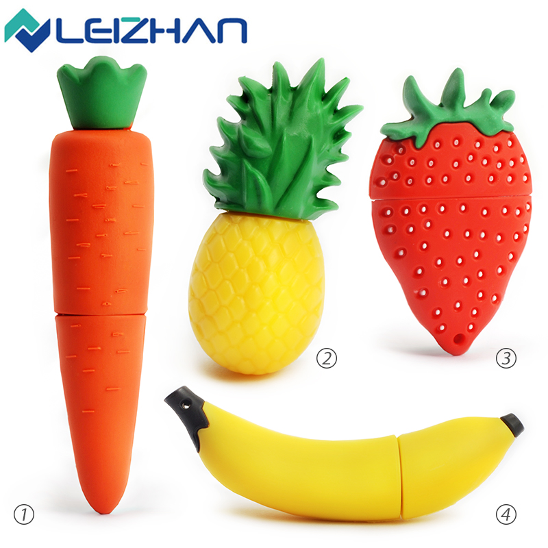 leizhan usb flash drive 32gb strawberry silicone carrot 16gb usb pendrive banana flash u disk pineapple