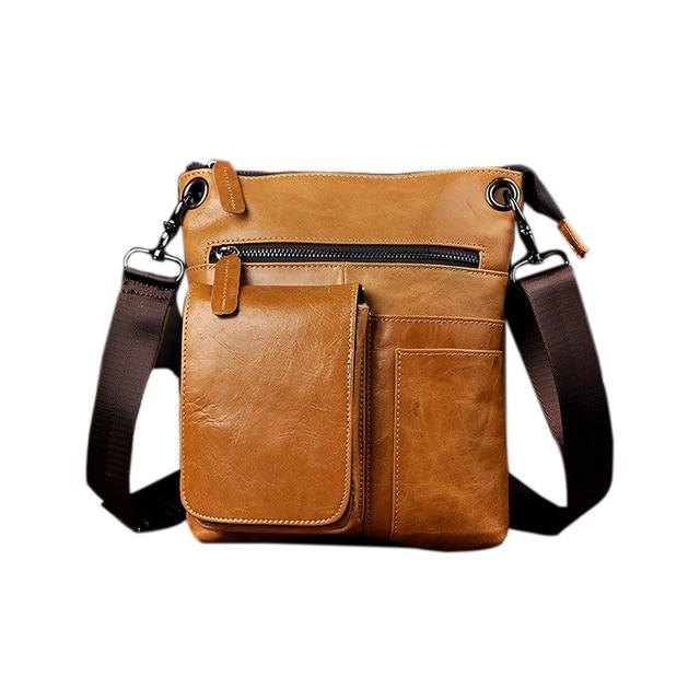 eec53d24f26c Vintage Style Men Leather Bags Casual Shoulder Bag Crossbody Bags 10 inch  Tablet Camera Packs Large Space Shoulder Packs
