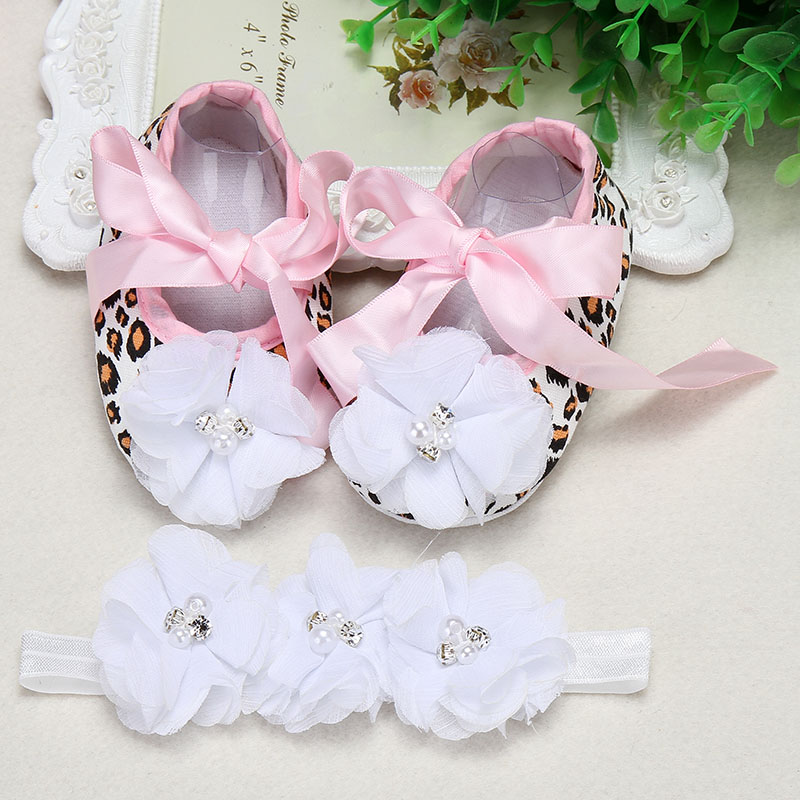 Christeningfesta baptism baby girl shoes Headbands set aby Soft Crib Shoes Ballerina Crib Soft Sole walker shoes