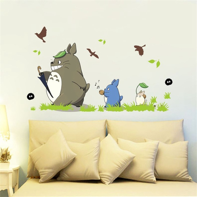 1PC Home Decoration Cute Cartoon Animation Vinyl Totoro Wall ...