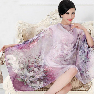 Image 1 - 2018 High quality 100% mulberry silk scarf natural real silk Women Long scarves Shawl Female hijab wrap Summer Beach Cover ups