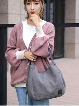 Free shipping KS1-6 New style canvas bag ladies fashion simple handbag multi-layer leisure bag handbag - Category 🛒 All Category