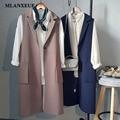 Fashion Long Pockets Turn-Down Collar Open Stitch Sleeveless Blazer Vest Jackets Jackets Vests Office Lady Elegant Long Coat