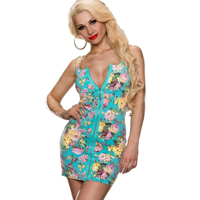 883f199973a Alibaba Express Spanish Womens Sexy Dresses Party Night Club Dress Summer  Front Zipper Sexy Low Cut Bandage Flower Print Dress