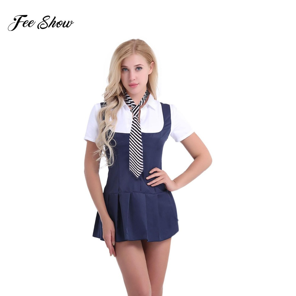 Sexy Adult Women Schoolgirl Student Fancy Costumes Uniform Short Sleeve Shirt Dress with Necktie For Cosplay Party & Night Club