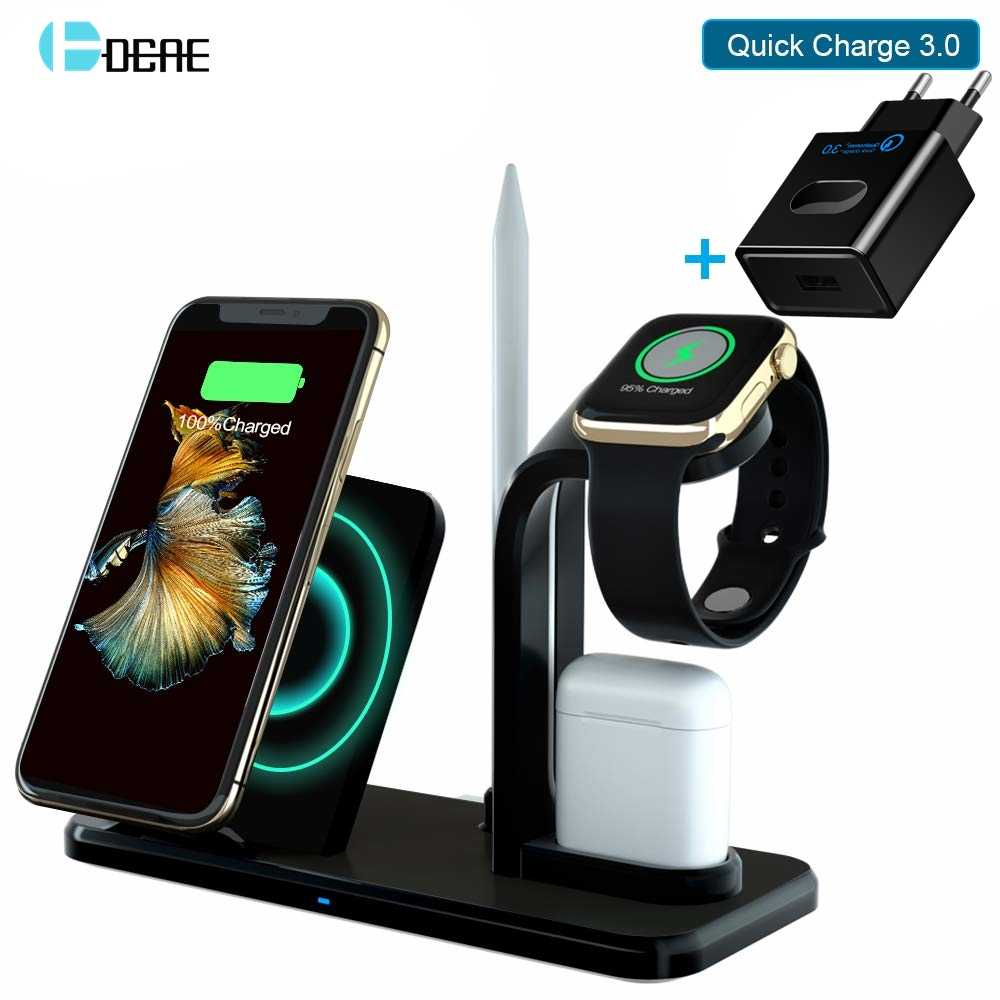Dcae 3-In-1 Pengisian Berdiri untuk IWatch 5/4/3/2 10W Cepat qi Wireless Charger Dock Station untuk iPhone X XS XR 8 Airpods Apple Watch