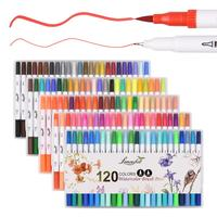 120 Colors Dual Tip Marker Pen Watercolor Brush Pens Fineliner Tip for Art Coloring Sketching Calligraphy Manga Art Supplies