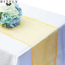 30colors 30x275cm Organza Table Runner Soft Sheer Fabric for Wedding Party Banquet Table decoration Supplies Chair Bows Swag