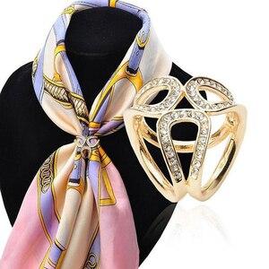 Женская мода Полые стразы, инкрустированные три кольца шарф шаль булавка ювелирные изделия