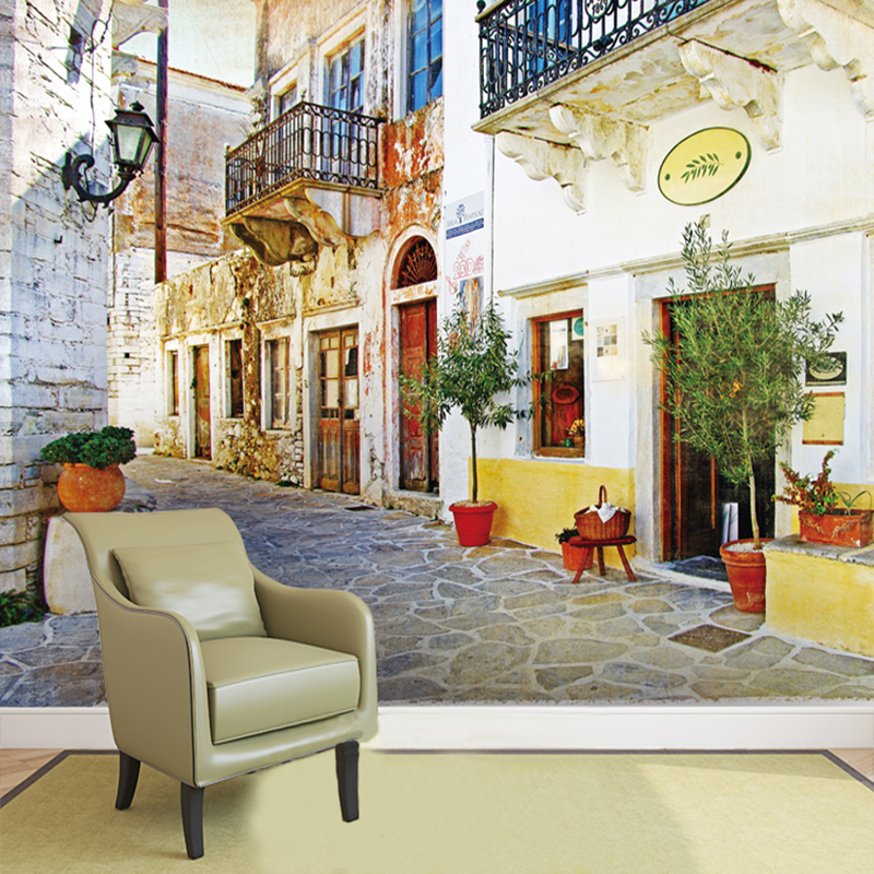Custom 3D Photo Mural Wallpaper European Building Town Road With Flower Pots Wall Paper For Living Room Bedroom TV Sofa Backdrop custom mural wallpaper european style 3d stereoscopic new york city bedroom living room tv backdrop photo wallpaper home decor