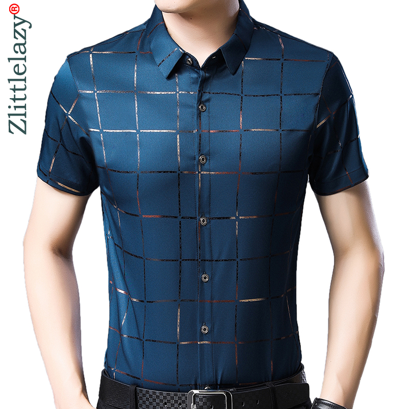 2019 Brand Casual Summer Luxury Plaid Short Sleeve Slim Fit Men Shirt Streetwear Social Dress Shirts Mens Fashions Jersey 51512
