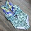 ZMTREE Brand 2017 Sexy One Piece Swimsuit Printed Bandage High Waist Swimwear Women Cut Out Bodysuit