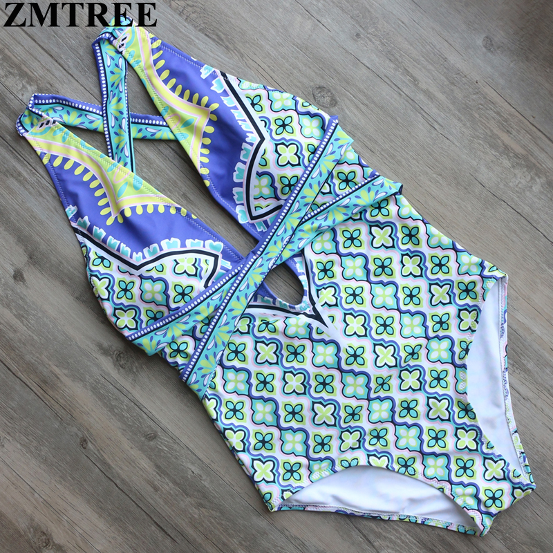 ZMTREE Brand 2017 Sexy One Piece Swimsuit Printed Bandage High Waist Swimwear Women Cut Out Bodysuit Bathing Suits Monokinis 2017 new sexy one piece swimsuit strappy biquini high waist one piece swimwear women bodysuit plus size bathing suits monokinis