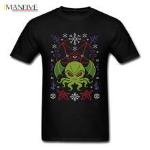 Merry Cthulhu Tshirt Men Christmas Gift T Shirt Cute Monster Clothes Sweater Pattern Tops Octopus Tees Black T Shirt Cotton цена