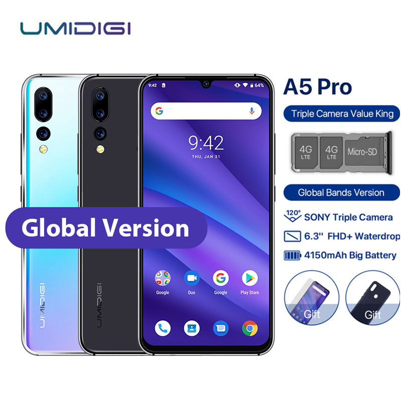 "UMIDIGI A5 PRO Mobile Phone Android 9.0 6.3"" FHD+ Waterdrop 4GB 32GB Octa Core 16MP 3 Rear Camera 4150mAh Dual 4G Sim Smartphone"