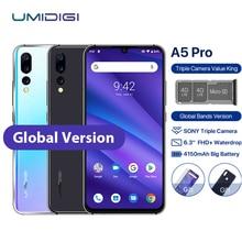 "UMIDIGI A5 PRO 휴대 전화 안드로이드 9.0 6.3 ""FHD + Waterdrop 4GB 32GB Octa Core 16MP 3 후면 카메라 4150mAh 듀얼 4G Sim 스마트 폰"