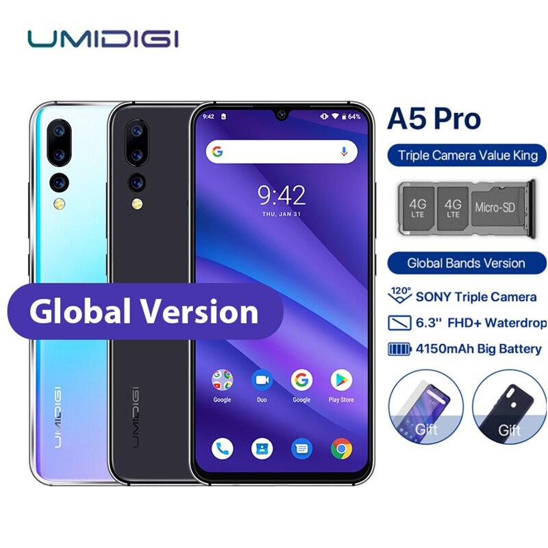 "UMIDIGI A5 PRO Mobile Phone Android 9.0 6.3"" FHD+ Waterdrop 4GB 32GB Octa Core 16MP 3 Rear Camera 4150mAh Dual 4G Sim Smartphone"