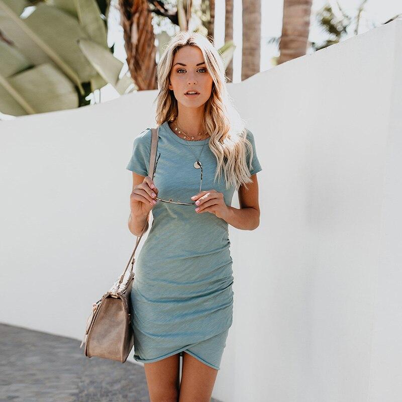 2c07beb1d25 Dropshipping Hot Sale Summer Dress 2018 Short Sleeve Balck Sexy Women Dress  Bodycon Casual High Waist Mini White Party Dresses
