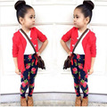 3 pcs meninas sets new girls T-shirt + cardigan + printing pants leggings childrens cardigan sweater baby girls clothes