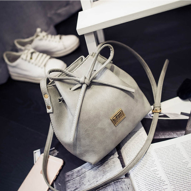 Women Bags 2017 New Spring Summer Bow Drawstring Bucket Bags Small Cross-body Bag Fashion Trend Brief Shoulder Bag For Lady