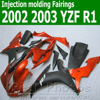 100% Injection molding fairings set for YAMAHA  R1 02 03 YZF R1 matte black brown fairing kit 2002 2003 motorbike JK33