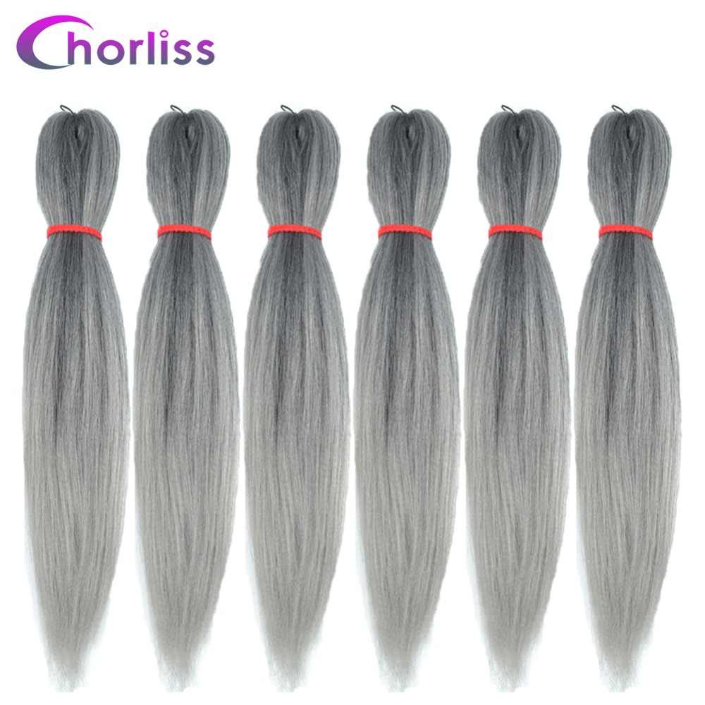 Chorliss EZ Braids Hair Bundles Kanekalon Synthetic Hair Extension Ombre Braiding Hair Jumbo Braids Crochet Braids Blonde Grey