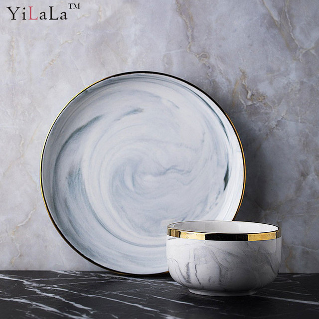 Yilala Ceramic Plate Dish Marble Fish Dishes Creative Tableware for Dinner Rice Bowl Porcelain Plates Dinnerware & Yilala Ceramic Plate Dish Marble Fish Dishes Creative Tableware for ...