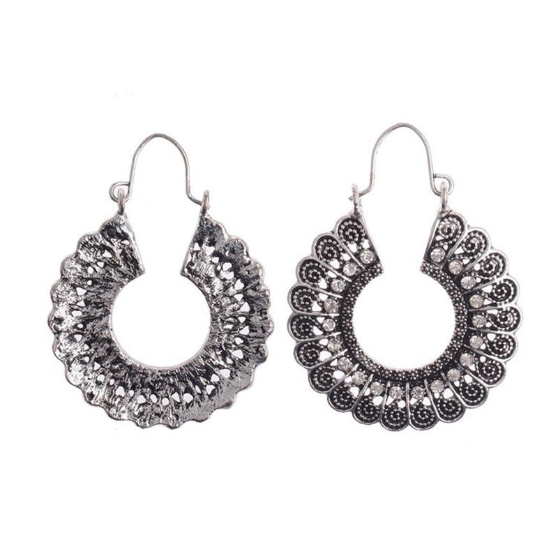 Fou Feng femmes Vintage boucles d'oreilles 2018 ethnique creux fleur gitane boucles d'oreilles indien bijoux Trible boucle d'oreille accessoires 15