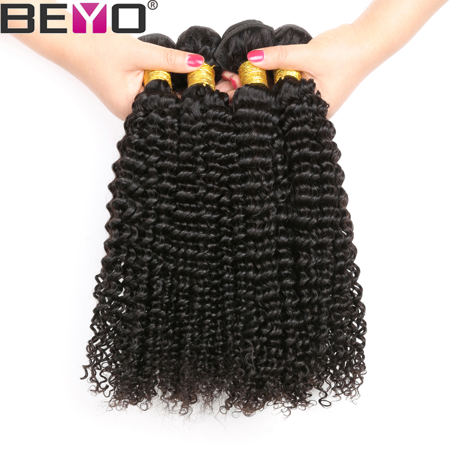Beyo Peruvian Kinky Curly Bundles With Frontal Human Hair 3 Bundles With Closure 13*4 Lace Frontal Closure With Bundles Non Remy