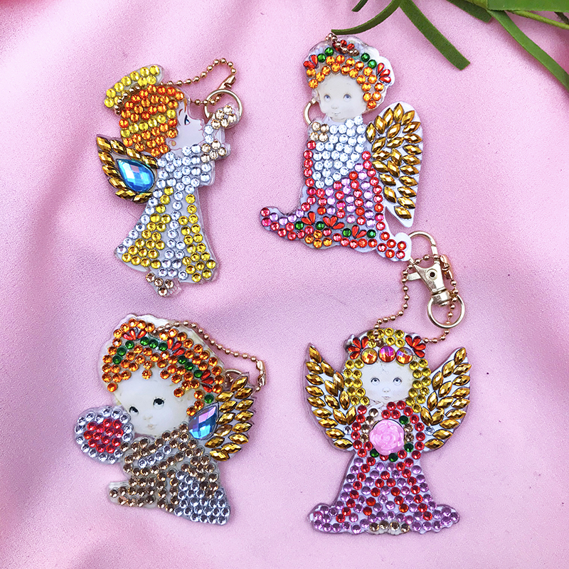 5D DIY 4Pcs Angel Diamond Painting Keychain Rhinestone Embroidery Pendant DIY Craft Kits Mosaic Cross Stitch Diamond Painting