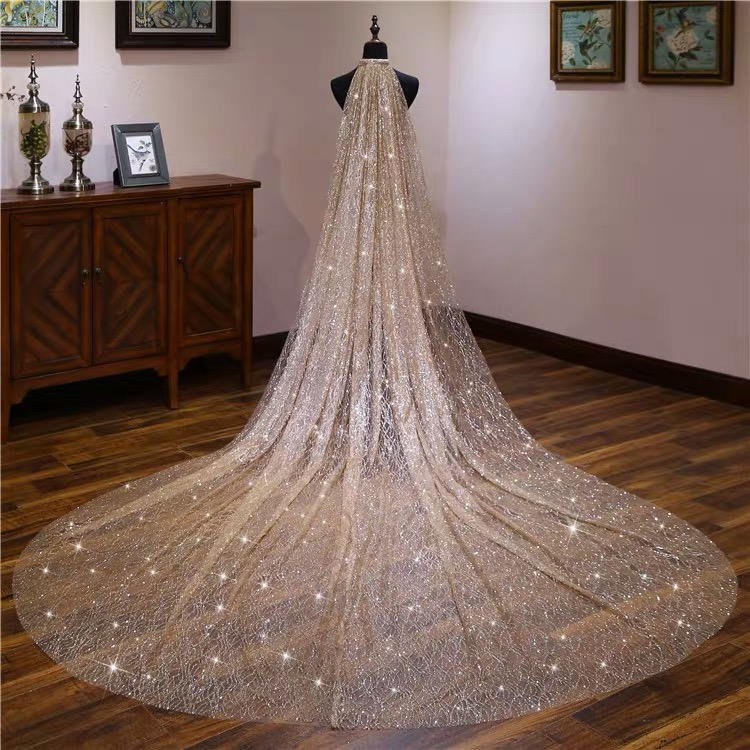 Gold White Blingbling Glitters Bridal Veils Luxury Wedding Veil Bride 3x3.5 Meters Long Cathedral Veil With Comb Peigne Mariage