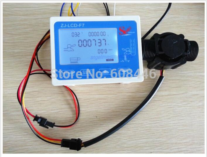 Hall effect G 1 water Flow Counter/Sensor with Digital LCD Meter Gauge 24V us208mt flow totalizer usn hs10pa 0 5 10l min 10mm od flow meter and alarmer totalizer frequency counter hall water flow sensor